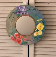 Decorative shabby boho mirror, cottagecore country round mirror, floral roses hand painted functional art, bohemian home decor, floral art