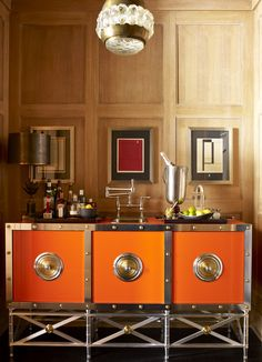 Steven Gambrel   Orange And Brass Modern Retro Bar