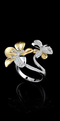 Buy Exquisite Women's 925 Sterling Silver Floral Ring Two Tone Gold Flower Sparkling Diamond Jewelry Proposal Gift Cocktail Party Wedding Band Rings Size 6 7 8 9 10 at Wish - Shopping Made Fun High Jewelry, Jewelry Art, Jewelry Accessories, Jewelry Design, Fashion Jewelry, Glass Jewelry, Jewlery, Bling, Diamond Flower