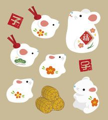 "New Year elements – mouse dolls and Chinese zodiac sign stamps and bag of rice / translation of Japanese New Year elements – mouse dolls and Chinese zodiac sign stamps and bag of rice / translation of Japanese ""year of the rat"" ""fortune"" Chinese New Year Design, Japanese New Year, Chinese New Year 2020, Happy Chinese New Year, Japanese Bag, Chinese New Year Decorations, New Years Decorations, New Years Nail Art, New Year Illustration"