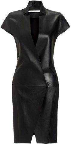 Felipe Oliviera Baptista Black Right Leather Mini Dress - Lyst
