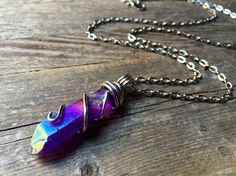 Purple Aura Crystal Statement Necklace Aura by crystalsNcreations