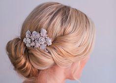 rhinestone double flower wedding hair clip