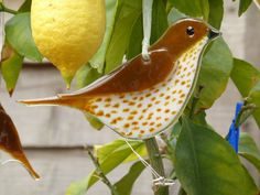 Fused glass thrush hanging ornament for indoors or outside by 1stGlassCreations on Etsy