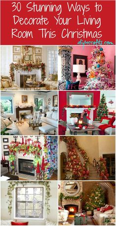 Holiday decorating & ideas - 30 Stunning Ways to Decorate Your Living Room For Christmas via DIY & Crafts Merry Little Christmas, Christmas Love, Winter Christmas, Christmas Houses, Christmas Canvas, Winter Snow, Christmas Ideas, Christmas Living Rooms, Festa Party