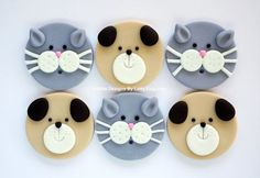 12 Edible Fondant Dog Puppy & Cat Kitty Cupcake Toppers - Tap the pin for the most adorable pawtastic fur baby apparel! You'll love the dog clothes and cat clothes! <3
