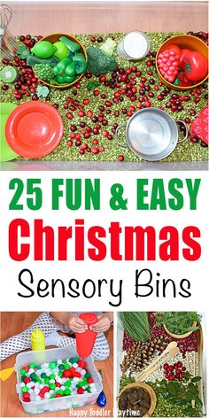 25 Easy Christmas Sensory Bins - HAPPY TODDLER PLAYTIME Make a fun and exciting sensory bin for everyday leading up to Christmas with this list of easy Christmas sensory bins! All they ideas are great for toddlers and preschoolers! Christmas Activities For Kids, Preschool Christmas, Christmas Themes, Kids Christmas, Holiday Themes, Sensory Bins, Sensory Activities, Preschool Activities, Sensory Play