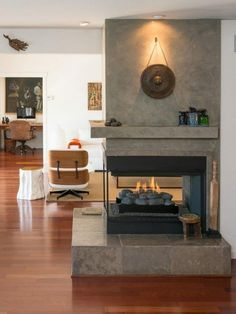 Room division is a breeze with two-sided fireplace – Open Fireplace Designs to Warm Your Home Two Sided Fireplace, Build A Fireplace, Double Sided Fireplace, Open Fireplace, Fireplace Inserts, Living Room With Fireplace, Fireplace Design, Fireplace Mantels, Fireplace Ideas