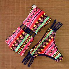 Red Aztec Print Swimsuit Swimwear Bikini Set