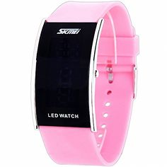 SKMEI Students Women Fashion Digital Watch PU Rubber Strap Luminous LED Screen Extra Flat Pink  BOX -- You can get more details by clicking on the image.Note:It is affiliate link to Amazon. #food