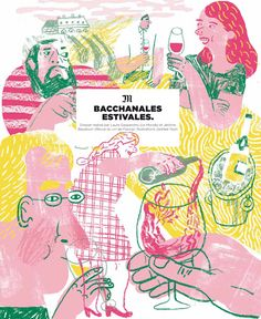 Le Monde Magazine, interior cover and spot illustrations for a feature on wine and wine pairings. Illustration Inspiration, Illustrations And Posters, Children's Book Illustration, Character Illustration, Digital Illustration, Joohee Yoon, In Vino Veritas, Collages, Illustrators