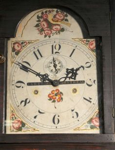 """Paint decorated tall case clock. The dial is signed """"J&R Twiss, Montreal"""". Several Twiss brothers came to Montreal from CT circa 1825 to set up a factory that produced paint decorated clocks using works imported from CT."""