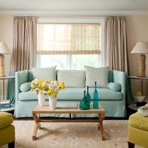 Turquoise and yellow. Love the side tables too. (House of Turquoise: Amanda Nisbet Design) House Of Turquoise, Turquoise Kitchen, Living Room Sets, Living Room Designs, Living Spaces, Style At Home, Eclectic Decor, Home And Living, Family Room