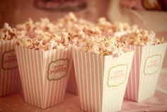 pink popcorn from a pink giraffe baby shower