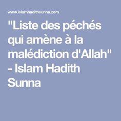 """""""Liste des péchés qui amène à la malédiction d'Allah"""" - Islam Hadith Sunna"""