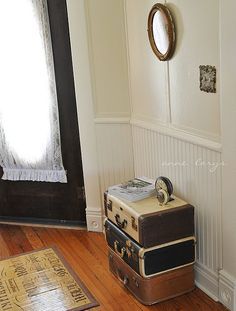 lovely vintage suitcases in an equally lovely home by Fiona and Twig