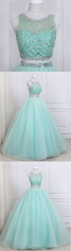 Dresses - Stylish mint tulle two piece long homecoming dress, long beaded evening dresses prom dress promdress promdresses Pretty Quinceanera Dresses, Pretty Prom Dresses, Sweet 16 Dresses, Elegant Dresses, Cute Dresses, Homecoming Dresses Long, Ball Gowns Prom, Ball Dresses, Evening Dresses