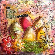 EGGcelent Easter Mixed Media Canvas by Andrea Gomoll - www.andrea-gomoll.de