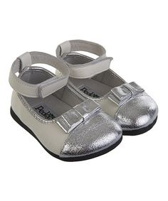 This White & Silver Lil' Sparklers Leather Shoe by Pedoodles is perfect! #zulilyfinds