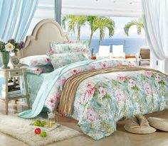 mint green and pink flowers comforter set pics | 100% Egyptian cotton luxury mint green paisley bedding comforter set ...
