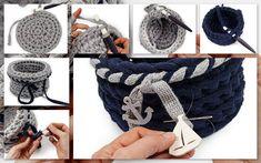 Au crochet : deux modèles de corbeilles - La Malle aux Mille Mailles Mode Crochet, Diy Crochet, Crochet Motifs, Crochet Necklace, Deco, Baskets, Free, Knit Basket, Crochet Basket Pattern