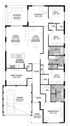 The San Giorgio Floorplan by National Homes Modern House Plans, Small House Plans, House Floor Plans, Home Design Plans, Plan Design, Duplex Plans, 4 Bedroom House Plans, Long House, Weekend House