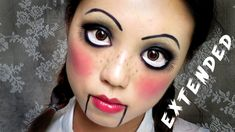 Easy and simple Halloween makeup that requires concealer, eyeliner, and lipstick. Turn yourself into a creepy cute doll this Halloween.