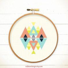 Modern Geometric Cross stitch pattern PDF Play by redbeardesign, £3.00
