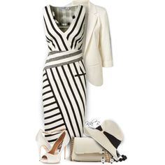 Altuzarra Black And White Striped Dress by kiki-bi on Polyvore featuring moda, Altuzarra, Badgley Mischka, Emilio Pucci, Ice, DaVonna and Eugenia Kim
