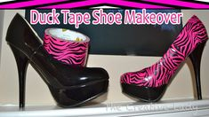 DIY: Pink Zebra Duct Tape Shoe Makeover | The Creative Lady