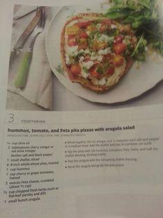 Hummus tomato and feta pita pizzas with arugula salad