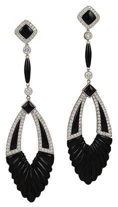 Platinum Diamond & Onyx Earrings