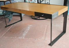 INTERNATIONAL STYLE DESK Patinated steel and oak desk in the style of Pierre Chareau