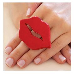 Lips Ring Red Ceramic - big bold oversize handmade - TALK THE TALK -... ($30) ❤ liked on Polyvore featuring home, home decor, red home decor, ceramic home decor, red home accessories and handmade home decor