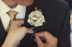Paper rose boutonnieres