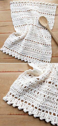 Cotton Crochet Patterns, Crochet With Cotton Yarn, Crotchet Patterns, Crochet Yarn, Free Crochet, Crochet Washcloth Patterns, Easy Crochet, Crochet Dish Towels, Crochet Kitchen Towels