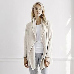 baf3b192828 Roll Edge Cardigan - Biscuit from The White Company Lounge Wear