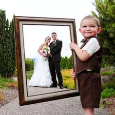A cute way to incorporate a frame prop in your portraits -- have an adorable nephew hold it for you! Gorgeous design & detail-rich wedding!