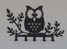 metal owl key holder,key organizer,jewelry holder wall,decorative owls,wall art,kitchen wall hook,bedroom decor,wall art,key rack,cincture by IRONHORSEAZ on Etsy