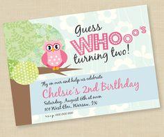#owl, #birthday, #invitation, #2nd birthday