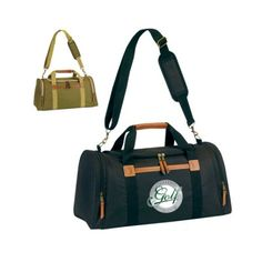 The Custom Branded Factory Direct Deluxe Executive Weekender Duffel Bag has a U zipper top, open front pocket, leatherette trim handle grips, side zipper compartments, adjustable and detachable shoulder strap with comfort pad