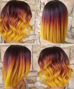 ombre yellow hair colors coolest hairs color trends in 2019 trendy hairstyles and colors 2019 women hair colors Yellow Hair Color, Ombre Hair Color, Cool Hair Color, Hair Colors, Orange Ombre Hair, Black Hair With Color, Blue Yellow, Red Black, Orange Color