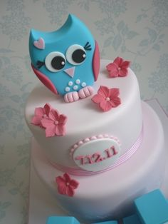 Owl Christening Cake By Bambalini on CakeCentral.com