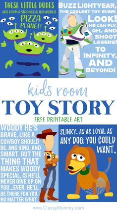 Free Toy Story Printable Posters and Artwork for Toy Story Nursery or Bedroom Theme Are you planning a Toy Story Nursery Theme or Toy Story Bedroom theme for your kids? If so, check out these awesome Free Toy Story Printable Posters and Ar New Toy Story, Toy Story Alien, Toy Story Party, Toy Story Birthday, Toy Story Nursery, Toy Story Bedroom, Pixar Nursery, Free Artwork, Kids Artwork
