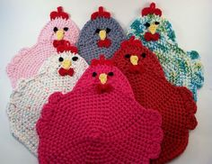 From Starting Chain: Crocheted Chicken Potholders
