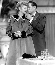 Lucille Ball..she really cried in this scene . This is the episode of I Love Lucy where Lucy reveals to Ricky that she's pregnant (and she was in real life, too)