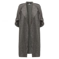 Dámský dlouhý podzimní kabát šedivý - SLEVA 50% + POŠTOVNÉ ZDARMAPošta Zdarma