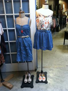 Casual denim and floral outfits Store Mannequins, Floral Outfits, Denim, Casual, Fashion, Moda, Fashion Styles, Fashion Illustrations, Jeans