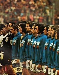 East German soccer team before facing off against West Germany in the 1974 FIFA World Cup in West Berlin.