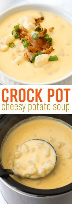 This easy crock pot cheesy potato soup recipe is so easy to whip up in your slow cooker. It's the ultimate comfort food! This easy crock pot cheesy potato soup recipe is so easy to whip up in your slow cooker. It's the ultimate comfort food! Slow Cooker Potato Soup, Crock Pot Slow Cooker, Crock Pot Cooking, Slow Cooker Recipes, Cooking Recipes, Potato Soup Recipes, Easy Crockpot Potato Soup, Chicken Recipes, Homemade Dog Food